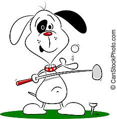 a, karikatur, spielen golf