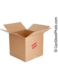 a, kartong kasse, med, bräcklig, märke, vita