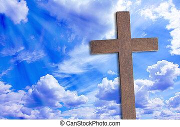 a, kereszt, közül, jesus christ, és, gyönyörű, elhomályosul