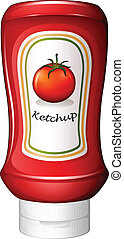 A ketchup inside the red bottle