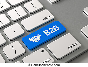 A keyboard with a blue button-B2B