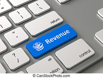 Revenue - A keyboard with a blue button-Revenue