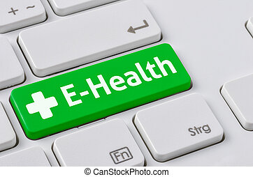 A keyboard with a green button - E-Health