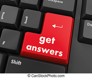 get answers - A keyboard with a key reading get answers
