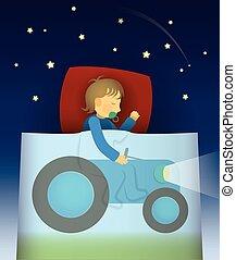 a, kicsi fiú, kap, egy, álmodik mindenfelé, traktor