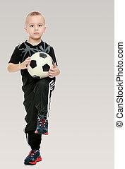 a, kicsi fiú, noha, a, labda, alatt, övé, kézbesít