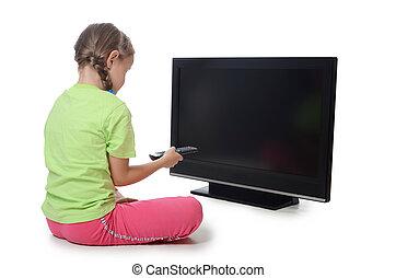 a, kicsi lány, lát, lsd, tv