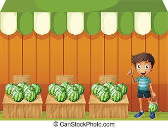 A kid at the watermelon fruitstands - Illustration of a kid ...