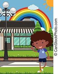 A Kid Crossing a Crosswalk illustration
