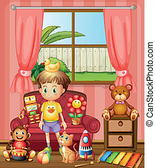 A kid inside the house with his toys
