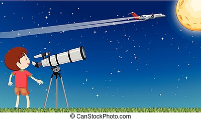A Kid Looking at the Moon with Telescope