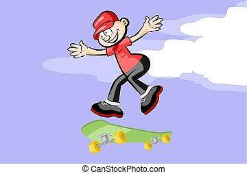 A kid on skateboard.