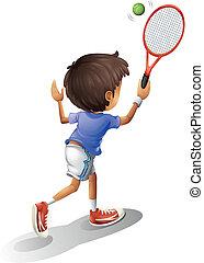 A kid playing tennis