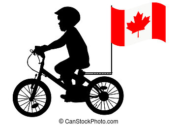 A kid rides a bicycle with Australia flag - A kid silhouette...