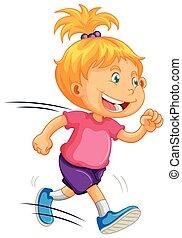 A Kid Running on White Background