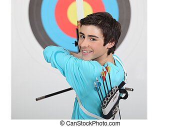 A kid shouting arrows.