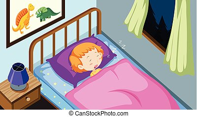 A Kid Sleeping in Bedroom