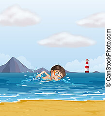 A kid swimming at the beach with a lighthouse