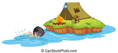 A kid swimming near a campsite