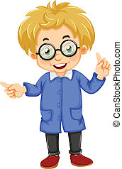 A kid wearing glasses