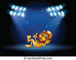 A king lion at the center of the stage