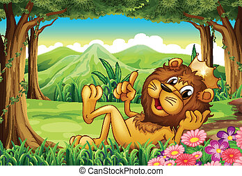 A king lion at the forest