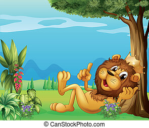 A king lion relaxing under a big tree