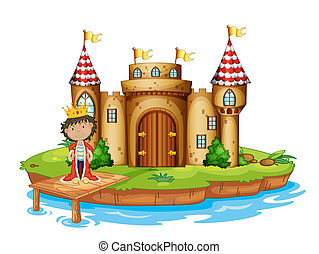 Illustration of a king near the castle on a white background