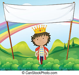 A king standing below a white empty signage - Illustration...