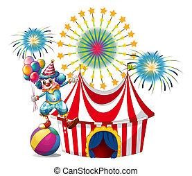 a, kirmes, mit, a, clown, besitz, luftballone