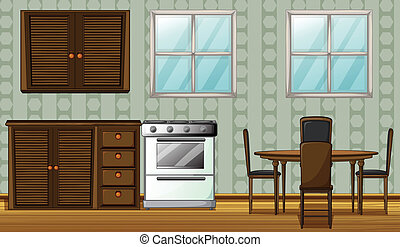 A kitchen in a house