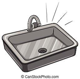 A kitchen sink on a white background