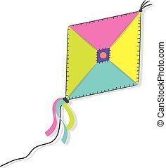 A kite on the white background