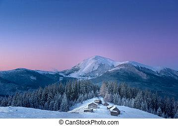 a, klein, dorf, in, der, schneebedeckt, carpathians