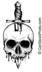 A knife through a skull. Simple skull face series. Monoline skull tattoo design vector