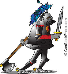 knight - a knight in armor dragging an ax