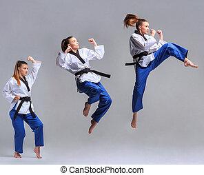 a, kollázs, közül, karate, leány, noha, black derékszíj