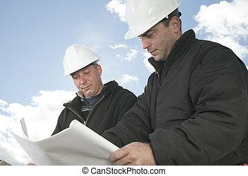 a, konstruktion, herrar arbeta, utanför
