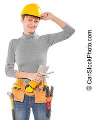 a, kvinnlig, arbetare, med, konstruktion, redskapen, isolerat, vita