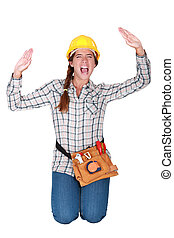a, kvinnlig, manuell arbetare, snärjet, in, a, box.