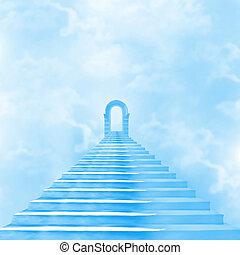 a, lépcső a mennybe, ólmozás, fordíts, isten