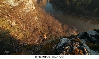 A l view on the river and green forest. A view from the...