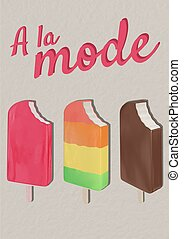 A la mode text with ice-cream icons against grey background. sweet summer background template illustration concept
