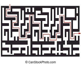 a, labirinto, quebra-cabeça, fundo