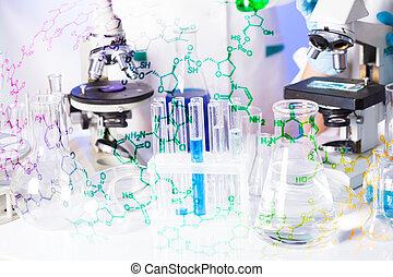 a, laboratórium, csövek