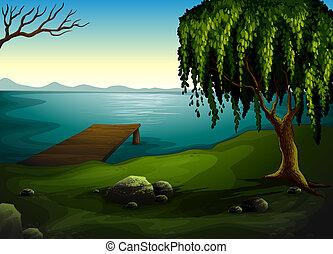 a, lac, à, les, forêt