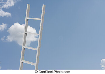 Reaching for your goals - A ladder in the sky with copy...