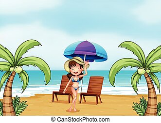 A lady at the beach with coconut trees