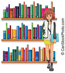 A lady holding a book standing in front of the bookshelves