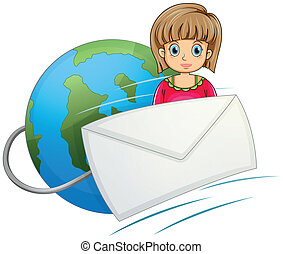 A lady in front of the globe with a mail
